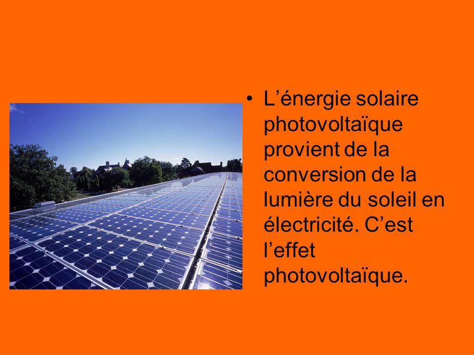 L'énergie solaire L'énergie solaire photovoltaïque provient de la conversion de la lumière du soleil en électricité. C'est l'effet photovoltaïque.
