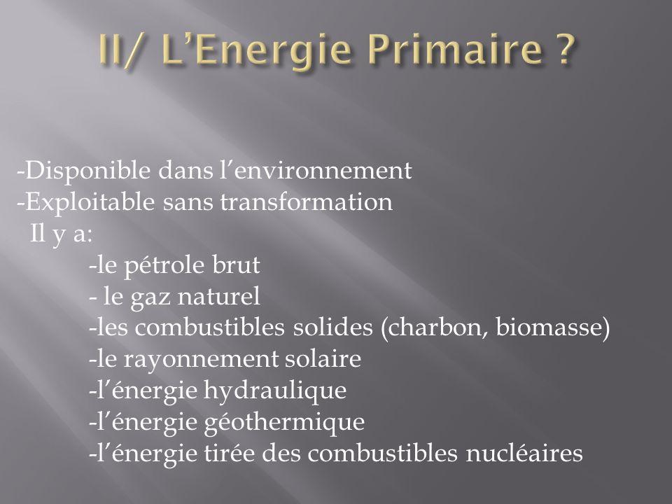 -Énergie naturelle - Inépuisable Il y a : - L énergie hydraulique - L énergie éolienne - L énergie solaire - L énergie de la géothermie - L énergie de la biomasse