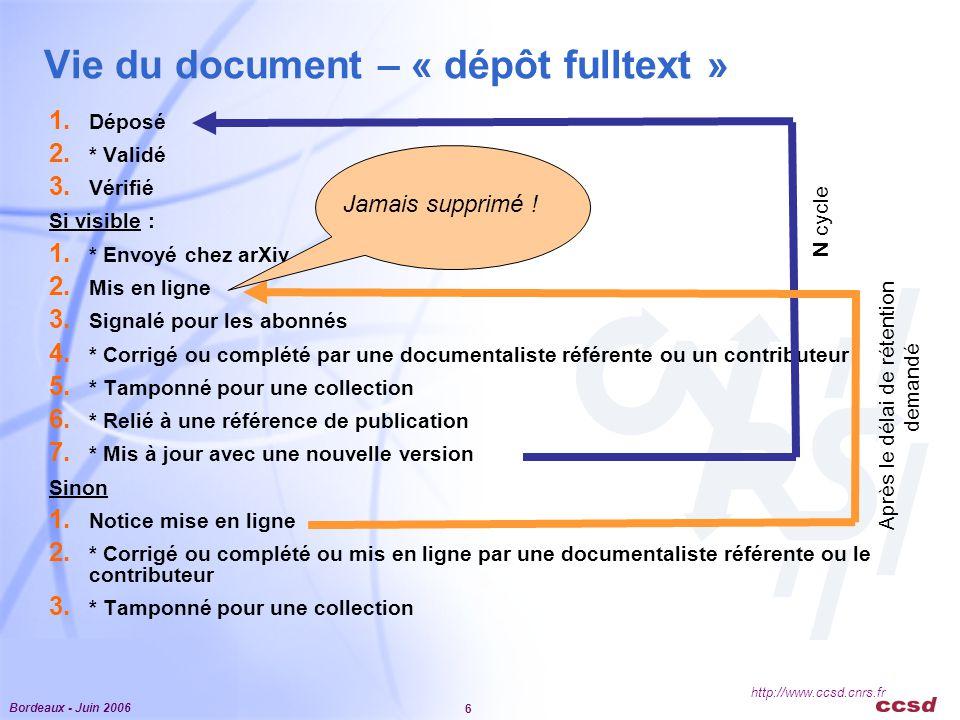 Bordeaux - Juin 2006 6 http://www.ccsd.cnrs.fr Vie du document – « dépôt fulltext » 1.