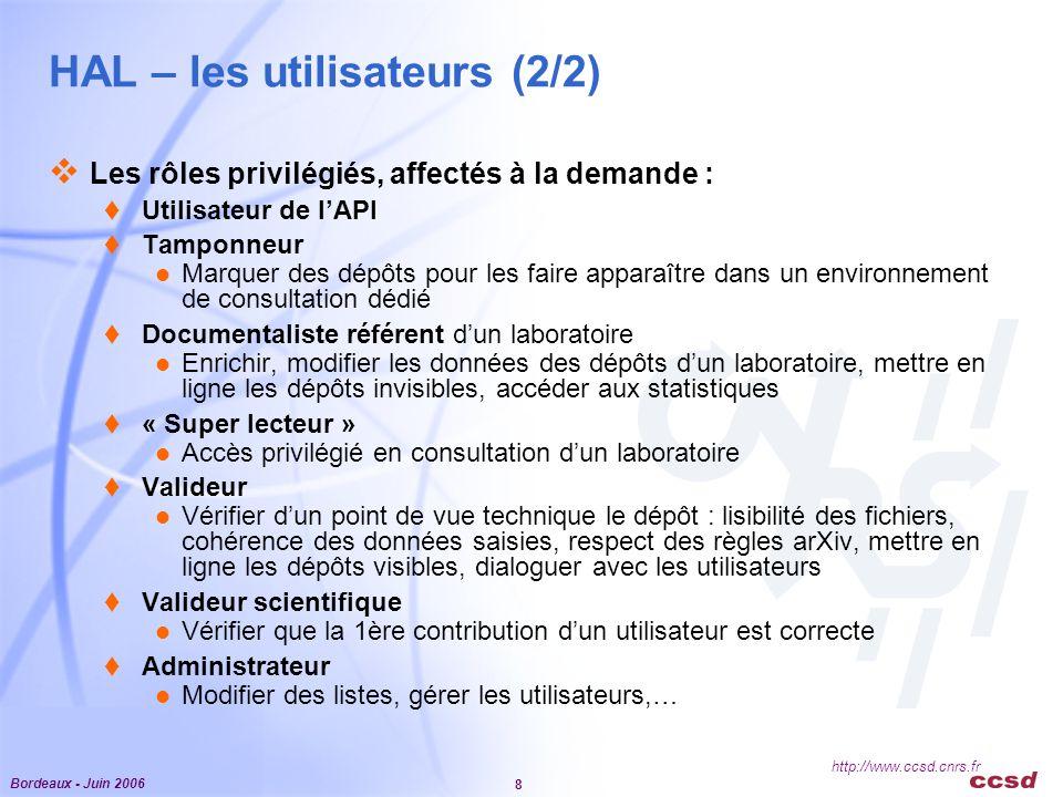 Bordeaux - Juin 2006 8 http://www.ccsd.cnrs.fr HAL – les utilisateurs (2/2)  Les rôles privilégiés, affectés à la demande :  Utilisateur de l'API  Tamponneur Marquer des dépôts pour les faire apparaître dans un environnement de consultation dédié  Documentaliste référent d'un laboratoire Enrichir, modifier les données des dépôts d'un laboratoire, mettre en ligne les dépôts invisibles, accéder aux statistiques  « Super lecteur » Accès privilégié en consultation d'un laboratoire  Valideur Vérifier d'un point de vue technique le dépôt : lisibilité des fichiers, cohérence des données saisies, respect des règles arXiv, mettre en ligne les dépôts visibles, dialoguer avec les utilisateurs  Valideur scientifique Vérifier que la 1ère contribution d'un utilisateur est correcte  Administrateur Modifier des listes, gérer les utilisateurs,…