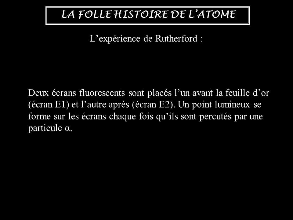 LA FOLLE HISTOIRE DE L'ATOME L'expérience de Rutherford : Deux écrans fluorescents sont placés l'un avant la feuille d'or (écran E1) et l'autre après