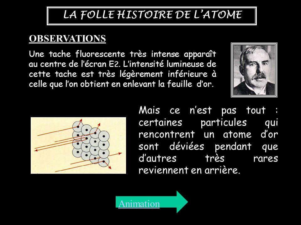 LA FOLLE HISTOIRE DE L'ATOME OBSERVATIONS Une tache fluorescente très intense apparaît au centre de l'écran E 2. L'intensité lumineuse de cette tache