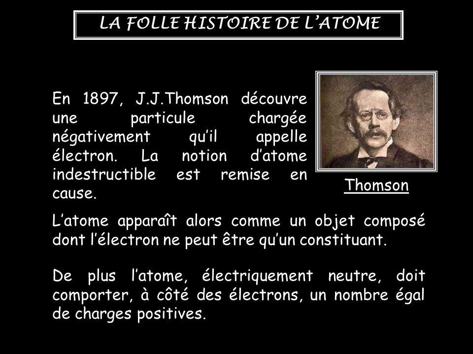 LA FOLLE HISTOIRE DE L'ATOME En 1897, J.J.Thomson découvre une particule chargée négativement qu'il appelle électron. La notion d'atome indestructible