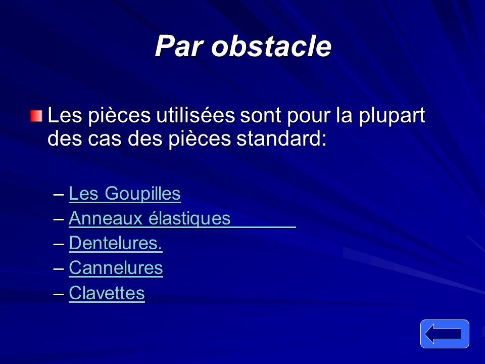 Par obstacle Les pièces utilisées sont pour la plupart des cas des pièces standard: –Les Goupilles Les GoupillesLes Goupilles –Anneaux élastiques Anne
