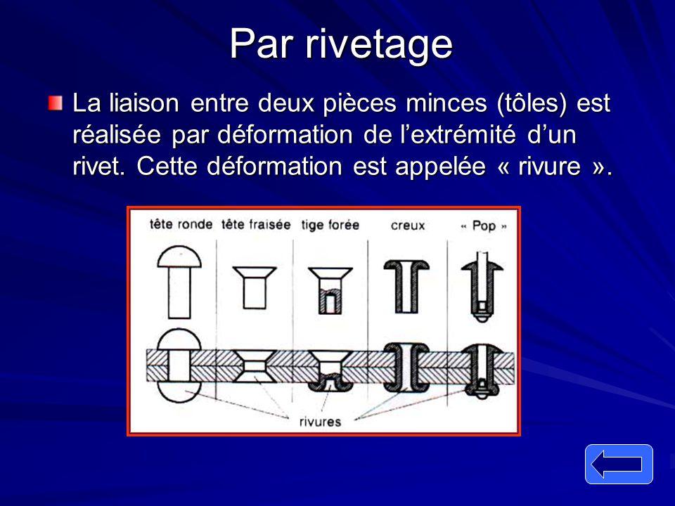 Par rivetage La liaison entre deux pièces minces (tôles) est réalisée par déformation de l'extrémité d'un rivet. Cette déformation est appelée « rivur