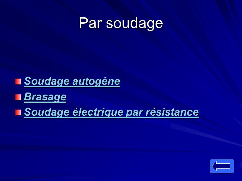 Par soudage Soudage autogène Soudage autogène Brasage Soudage électrique par résistance Soudage électrique par résistance