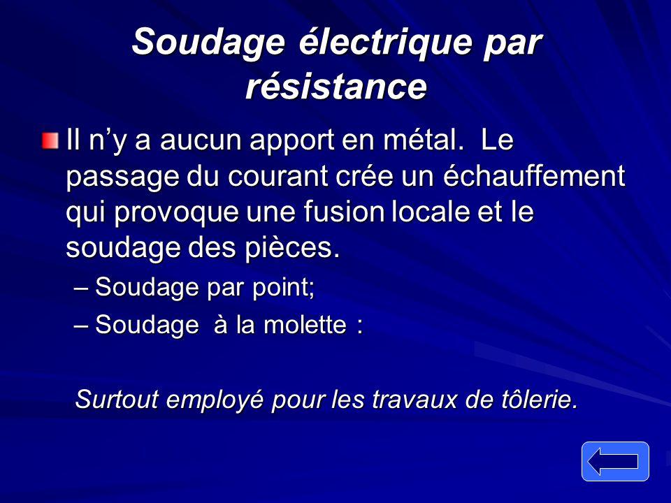 Soudage électrique par résistance Il n'y a aucun apport en métal. Le passage du courant crée un échauffement qui provoque une fusion locale et le soud