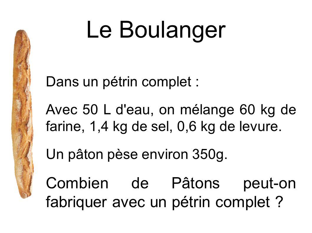 Le Boulanger Dans un pétrin complet : Avec 50 L d'eau, on mélange 60 kg de farine, 1,4 kg de sel, 0,6 kg de levure. Un pâton pèse environ 350g. Combie