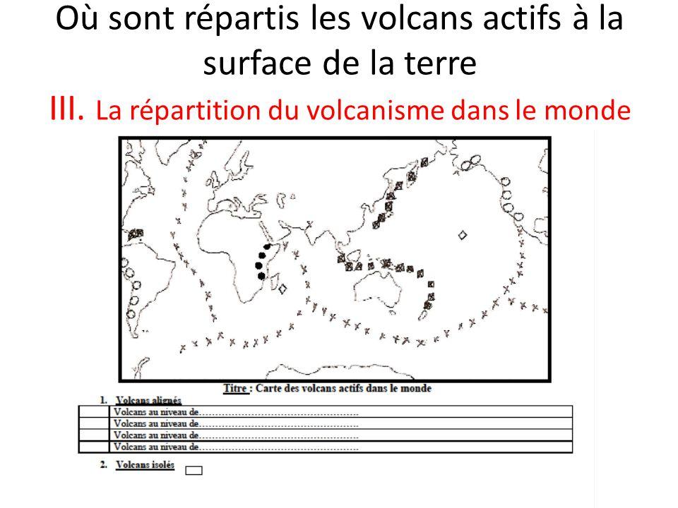 Où sont répartis les volcans actifs à la surface de la terre III.