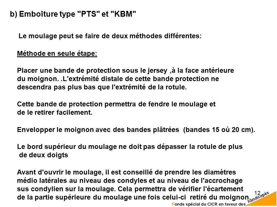 12 b) Emboîture type PTS et KBM Le moulage peut se faire de deux méthodes différentes: Méthode en seule étape: Le bord supérieur du moulage ne doit pas dépasser la rotule de plus de deux doigts Envelopper le moignon avec des bandes plâtrées (bandes 15 où 20 cm).