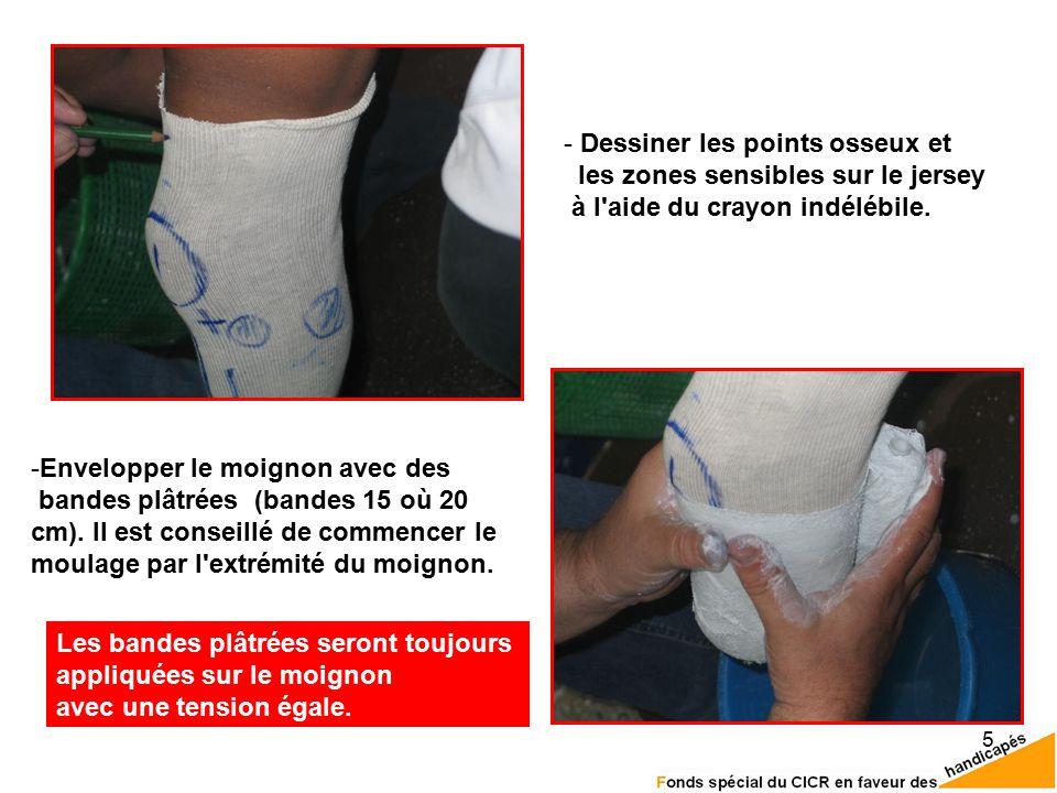 5 - Dessiner les points osseux et les zones sensibles sur le jersey à l aide du crayon indélébile.