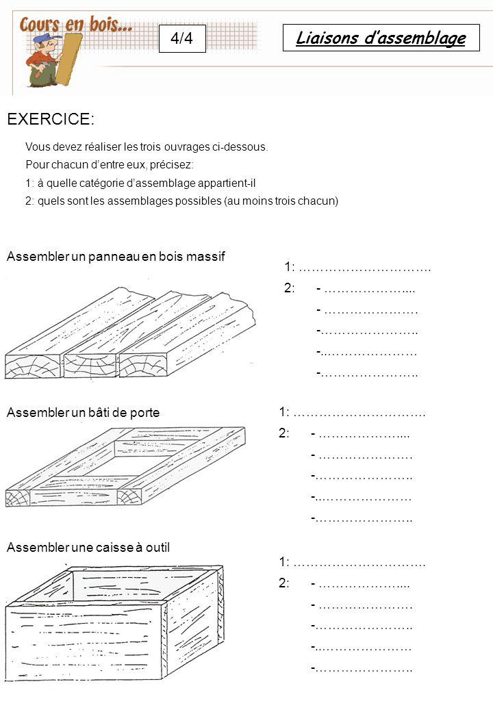 Liaisons d'assemblage 4/4 EXERCICE: Vous devez réaliser les trois ouvrages ci-dessous. Pour chacun d'entre eux, précisez: 1: à quelle catégorie d'asse