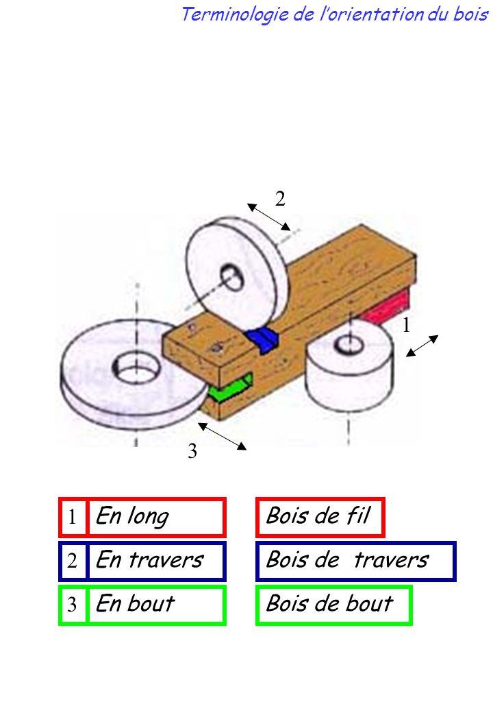 2 3 1 En bout En travers En long 2 3 1 Bois de bout Bois de travers Bois de fil Terminologie de l'orientation du bois