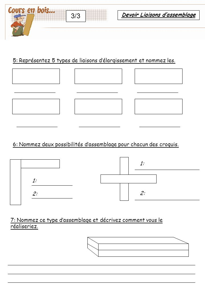 3/3 5: Représentez 5 types de liaisons d'élargissement et nommez les.