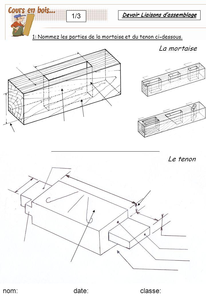 Le tenon nom: date:classe: 1/3 La mortaise 1: Nommez les parties de la mortaise et du tenon ci-dessous.