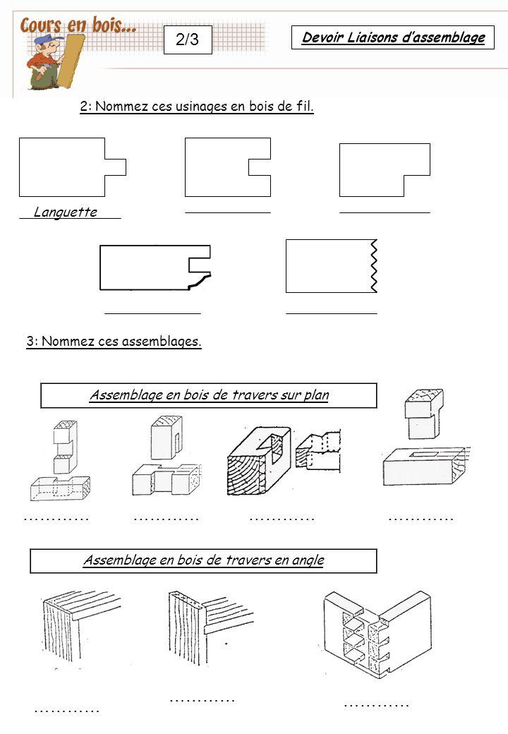 2/3 Assemblage en bois de travers sur plan ………… Assemblage en bois de travers en angle ………… 2: Nommez ces usinages en bois de fil.