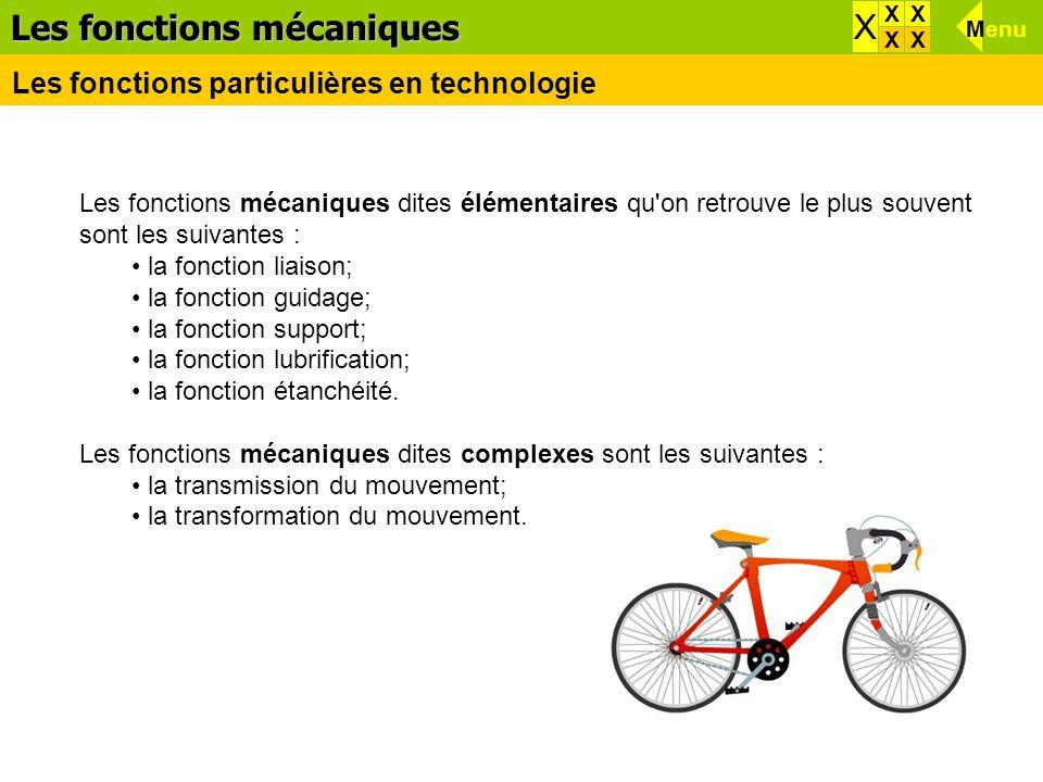 Les fonctions mécaniques dites élémentaires qu'on retrouve le plus souvent sont les suivantes : la fonction liaison; la fonction guidage; la fonction