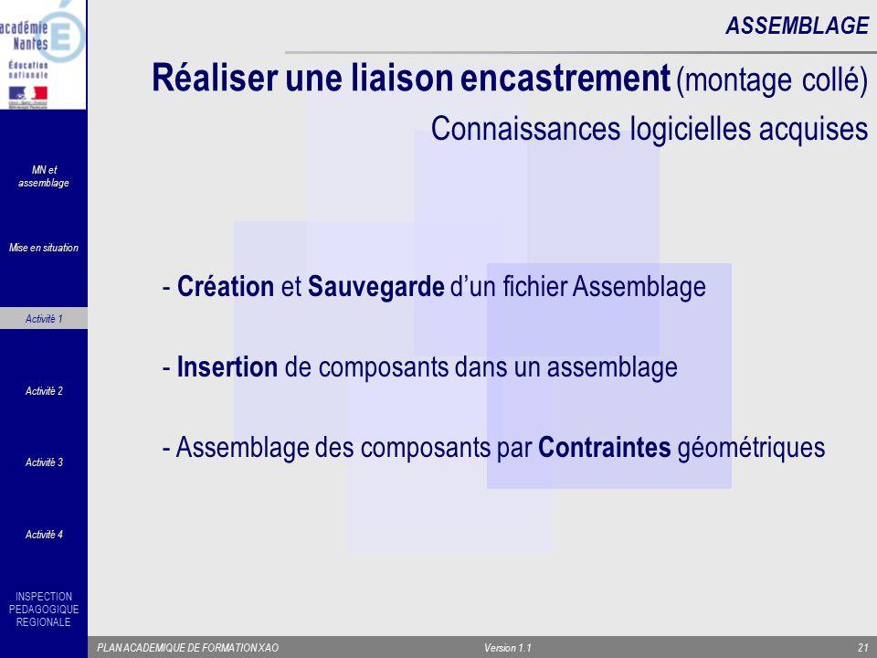 INSPECTION PEDAGOGIQUE REGIONALE PLAN ACADEMIQUE DE FORMATION XAOVersion 1.121 Réaliser une liaison encastrement (montage collé) ASSEMBLAGE - Création