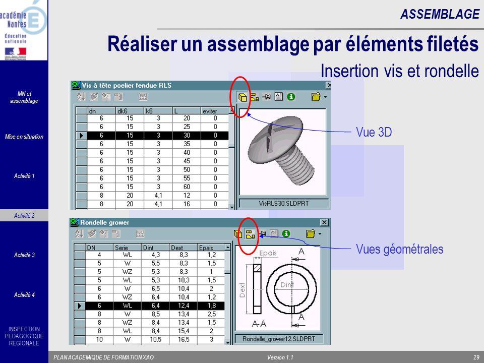 INSPECTION PEDAGOGIQUE REGIONALE PLAN ACADEMIQUE DE FORMATION XAOVersion 1.129 ASSEMBLAGE Réaliser un assemblage par éléments filetés Vue 3D Vues géom