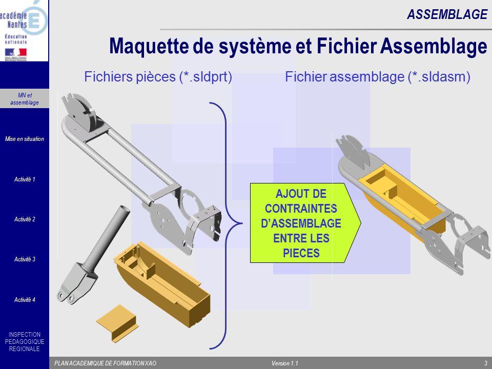 INSPECTION PEDAGOGIQUE REGIONALE PLAN ACADEMIQUE DE FORMATION XAOVersion 1.13 Maquette de système et Fichier Assemblage ASSEMBLAGE AJOUT DE CONTRAINTE