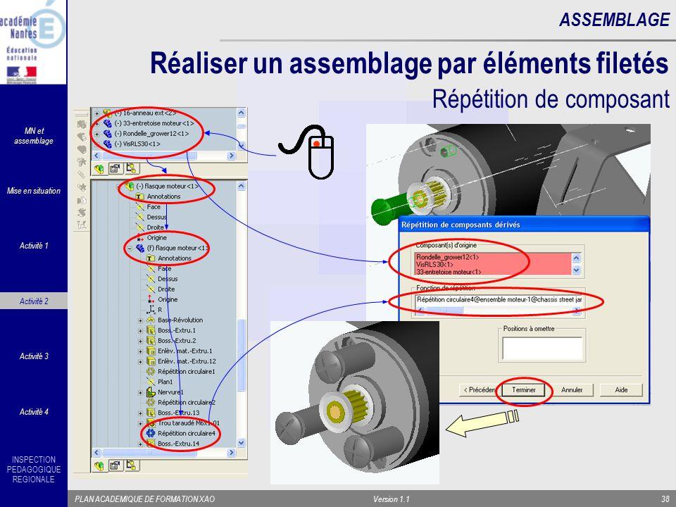INSPECTION PEDAGOGIQUE REGIONALE PLAN ACADEMIQUE DE FORMATION XAOVersion 1.138 ASSEMBLAGE Réaliser un assemblage par éléments filetés Répétition de co