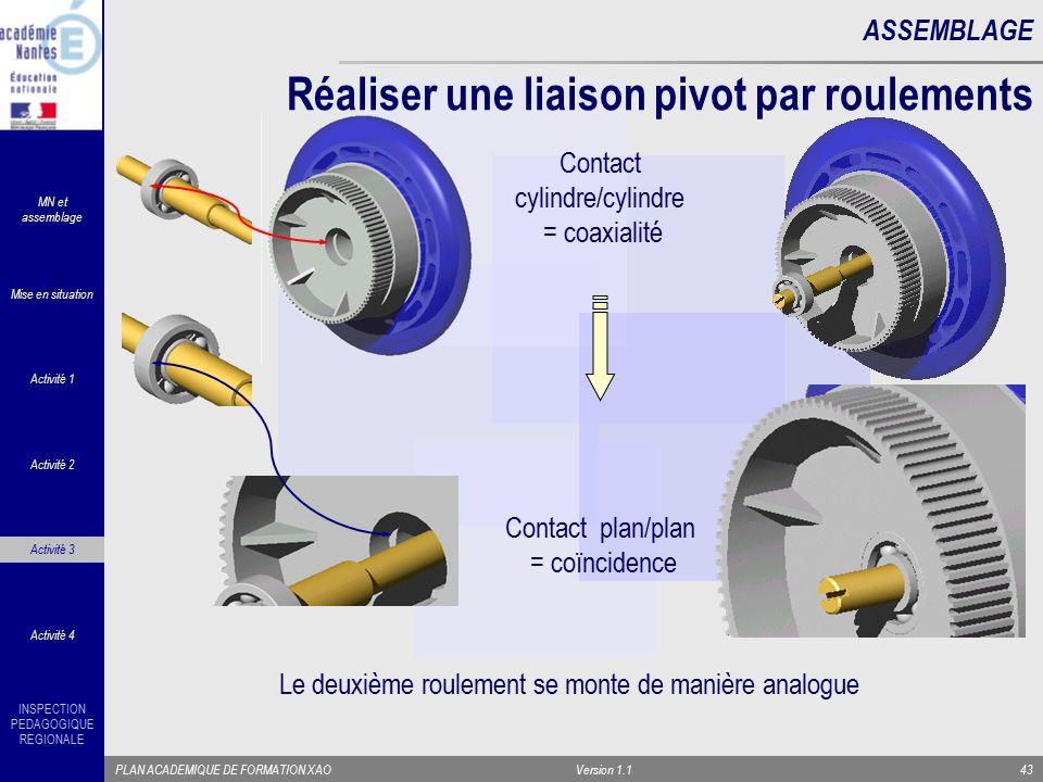 INSPECTION PEDAGOGIQUE REGIONALE PLAN ACADEMIQUE DE FORMATION XAOVersion 1.143 ASSEMBLAGE Réaliser une liaison pivot par roulements Contact cylindre/c
