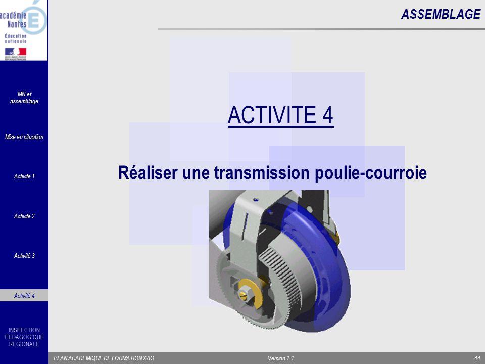 INSPECTION PEDAGOGIQUE REGIONALE PLAN ACADEMIQUE DE FORMATION XAOVersion 1.144 ASSEMBLAGE Réaliser une transmission poulie-courroie ACTIVITE 4 Activit