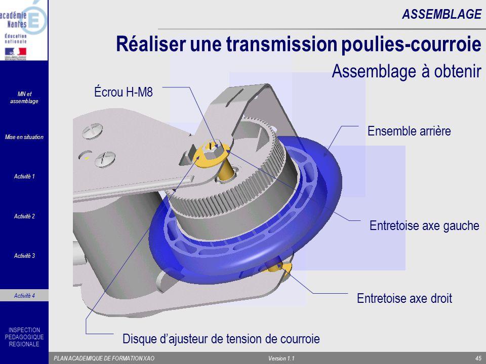 INSPECTION PEDAGOGIQUE REGIONALE PLAN ACADEMIQUE DE FORMATION XAOVersion 1.145 ASSEMBLAGE Réaliser une transmission poulies-courroie Assemblage à obte