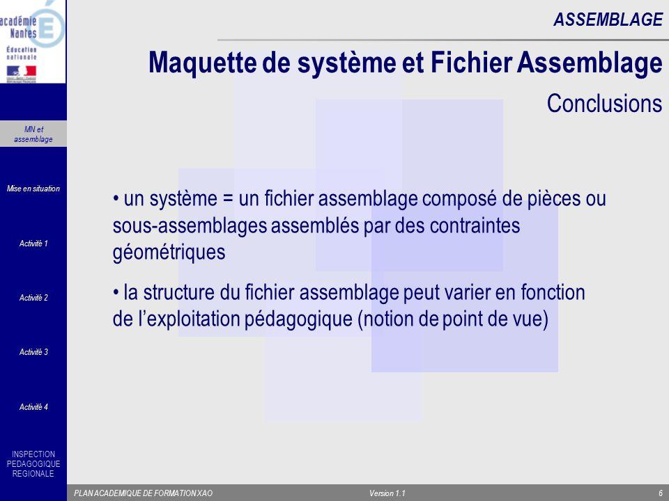 INSPECTION PEDAGOGIQUE REGIONALE PLAN ACADEMIQUE DE FORMATION XAOVersion 1.16 ASSEMBLAGE un système = un fichier assemblage composé de pièces ou sous-