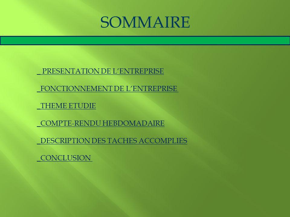 SOMMAIRE _ PRESENTATION DE L'ENTREPRISE _FONCTIONNEMENT DE L'ENTREPRISE _THEME ETUDIE _COMPTE-RENDU HEBDOMADAIRE _DESCRIPTION DES TACHES ACCOMPLIES _C