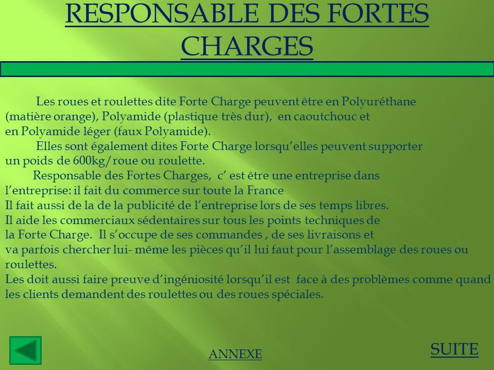 SUITE ANNEXE RESPONSABLE DES FORTES CHARGES Les roues et roulettes dite Forte Charge peuvent être en Polyuréthane (matière orange), Polyamide (plastiq