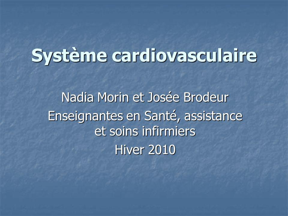 Système cardiovasculaire Nadia Morin et Josée Brodeur Enseignantes en Santé, assistance et soins infirmiers Hiver 2010