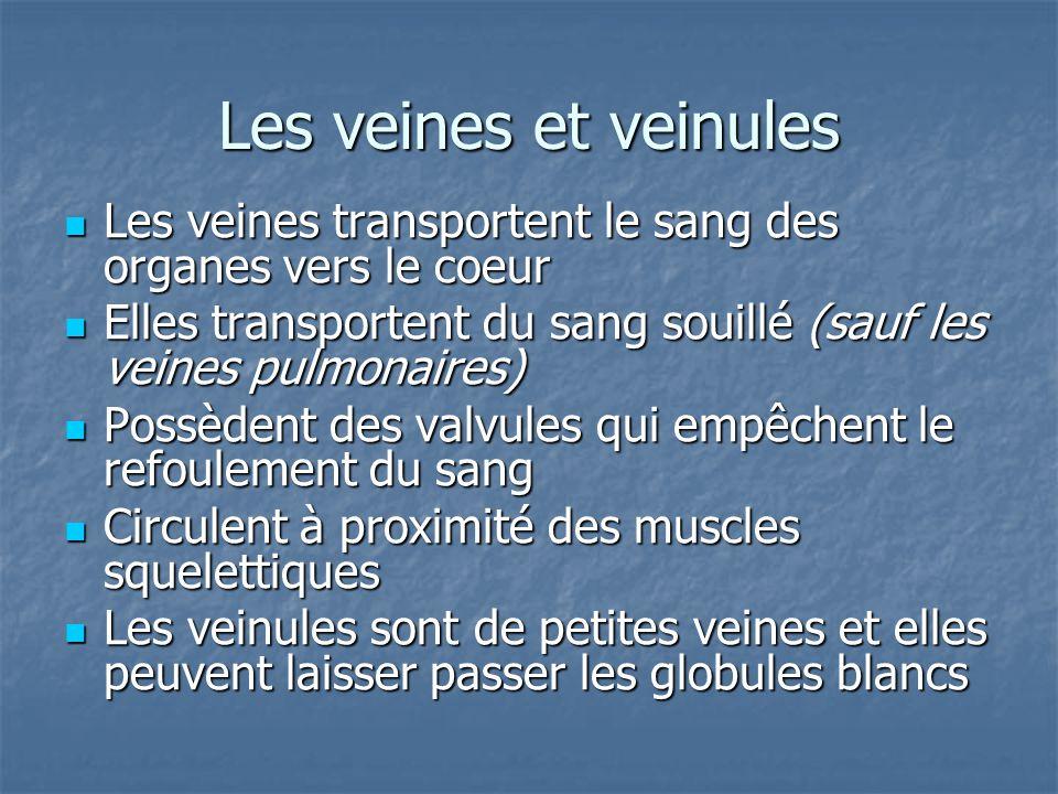 Les veines et veinules Les veines transportent le sang des organes vers le coeur Les veines transportent le sang des organes vers le coeur Elles trans