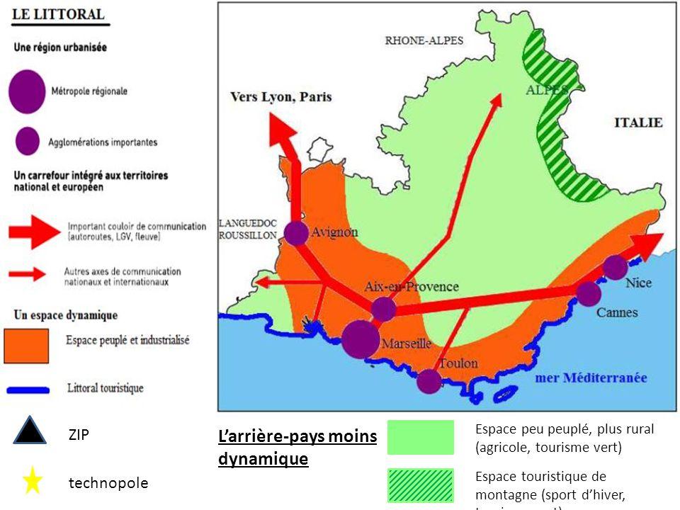 ZIP technopole L'arrière-pays moins dynamique Espace peu peuplé, plus rural (agricole, tourisme vert) Espace touristique de montagne (sport d'hiver, tourisme vert)