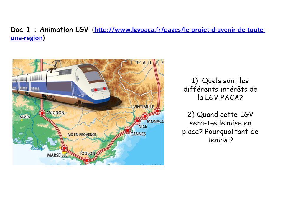Doc 1 : Animation LGV (http://www.lgvpaca.fr/pages/le-projet-d-avenir-de-toute- une-region)http://www.lgvpaca.fr/pages/le-projet-d-avenir-de-toute- une-region 1) Quels sont les différents intérêts de la LGV PACA.