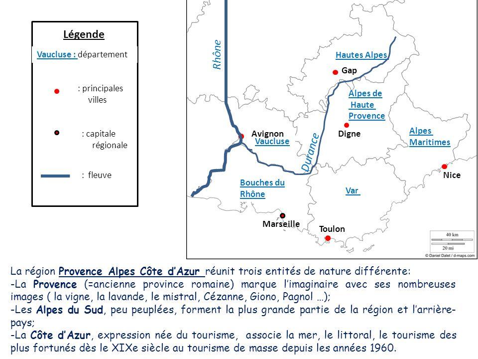 : capitale régionale Légende Vaucluse : département : principales villes : fleuve Vaucluse Bouches du Rhône Alpes de Haute Provence Var Alpes Maritime