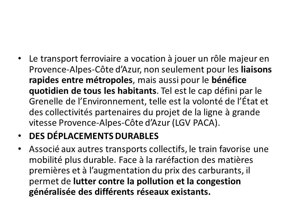 Le transport ferroviaire a vocation à jouer un rôle majeur en Provence-Alpes-Côte d'Azur, non seulement pour les liaisons rapides entre métropoles, ma