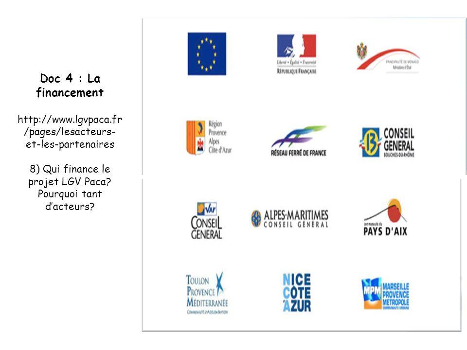 Doc 4 : La financement http://www.lgvpaca.fr /pages/lesacteurs- et-les-partenaires 8) Qui finance le projet LGV Paca? Pourquoi tant d'acteurs?