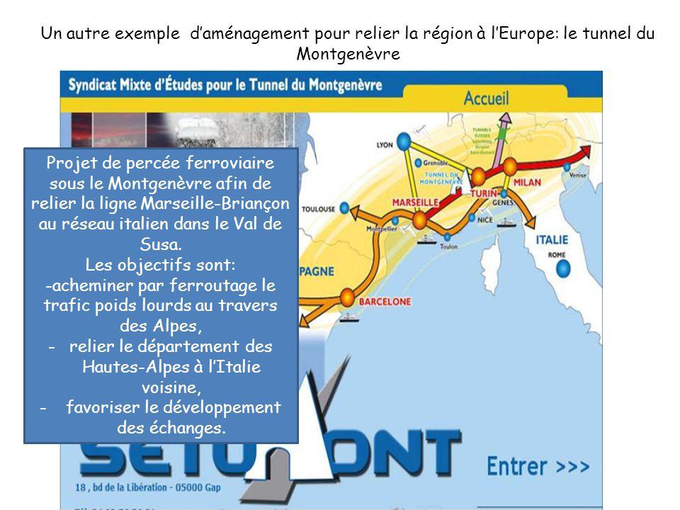 Un autre exemple d'aménagement pour relier la région à l'Europe: le tunnel du Montgenèvre Projet de percée ferroviaire sous le Montgenèvre afin de relier la ligne Marseille-Briançon au réseau italien dans le Val de Susa.