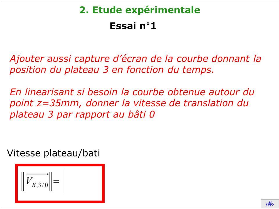 10 2. Etude expérimentale Ajouter aussi capture d'écran de la courbe donnant la position du plateau 3 en fonction du temps. En linearisant si besoin l