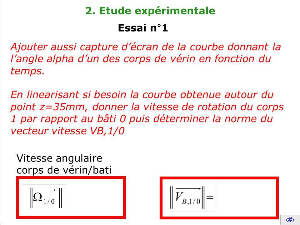 11 2. Etude expérimentale Ajouter aussi capture d'écran de la courbe donnant la l'angle alpha d'un des corps de vérin en fonction du temps. En lineari