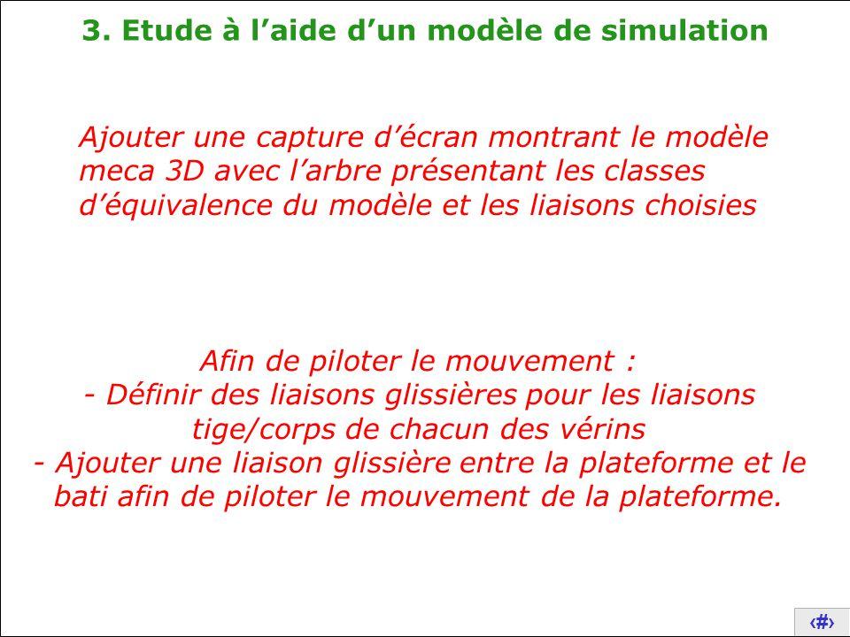 17 3. Etude à l'aide d'un modèle de simulation Ajouter une capture d'écran montrant le modèle meca 3D avec l'arbre présentant les classes d'équivalenc