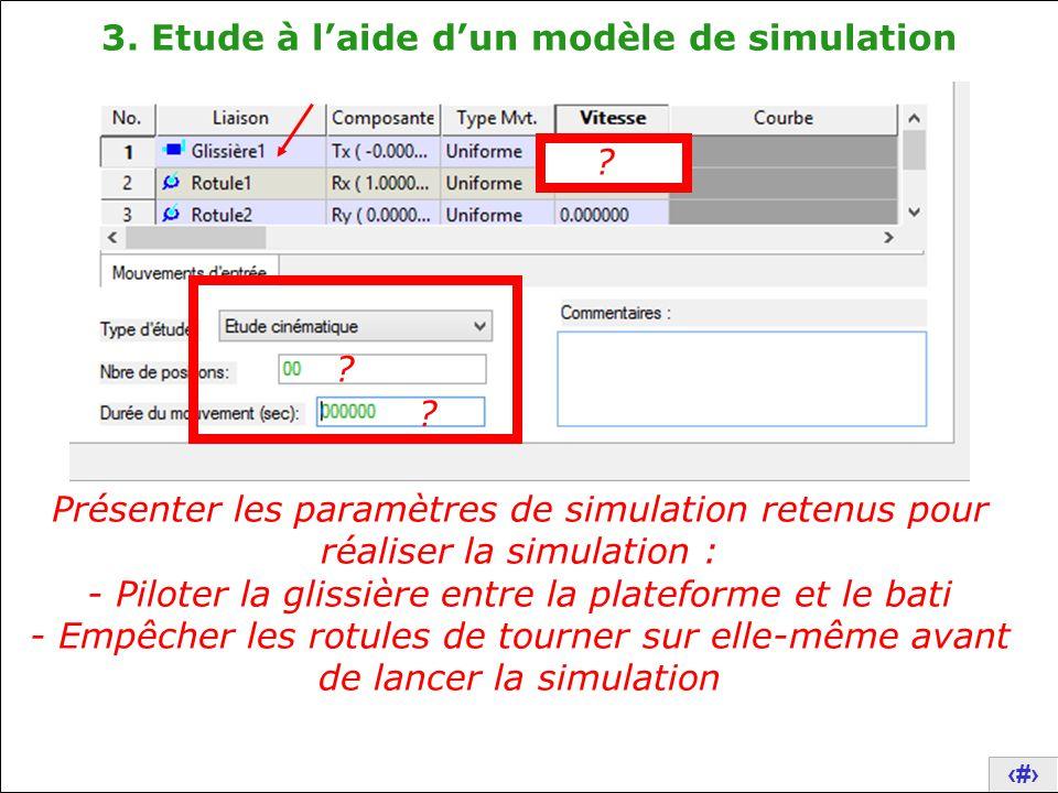 18 Présenter les paramètres de simulation retenus pour réaliser la simulation : - Piloter la glissière entre la plateforme et le bati - Empêcher les r