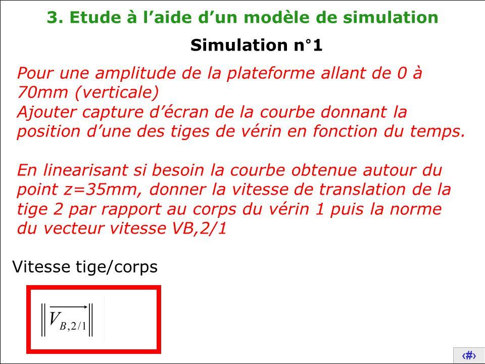 19 3. Etude à l'aide d'un modèle de simulation Pour une amplitude de la plateforme allant de 0 à 70mm (verticale) Ajouter capture d'écran de la courbe