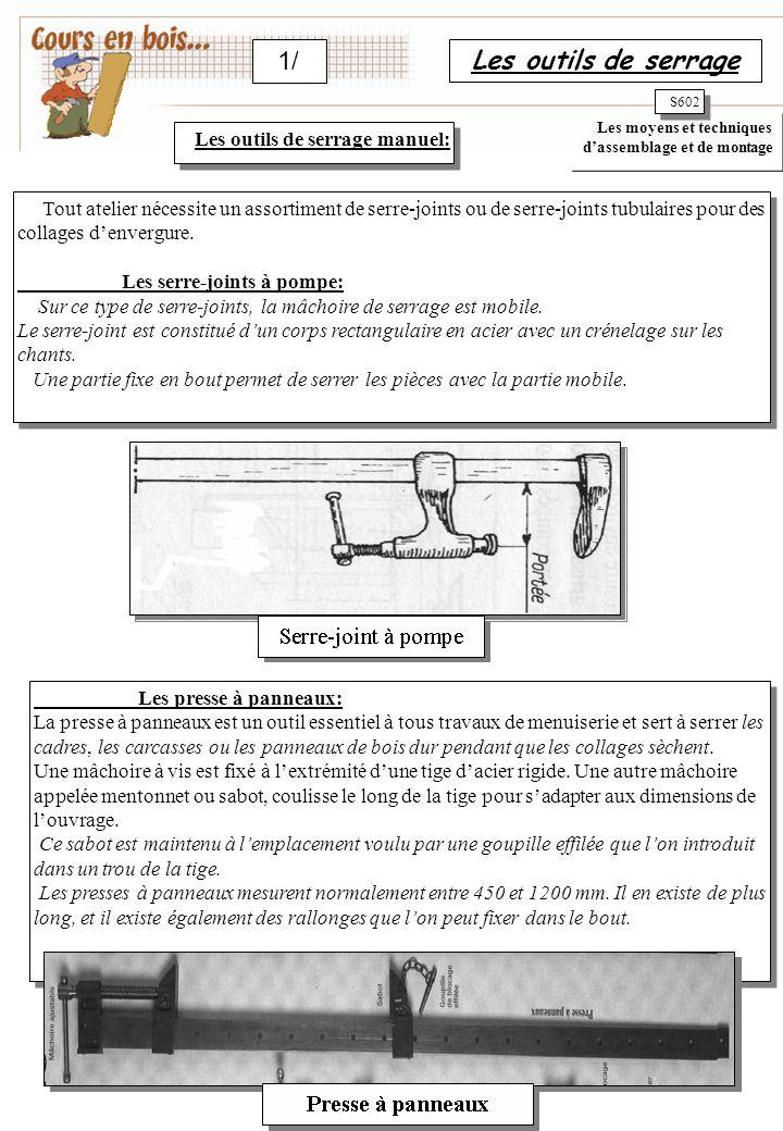 Les outils de serrage 1/ S602 Les outils de serrage manuel: Tout atelier nécessite un assortiment de serre-joints ou de serre-joints tubulaires pour des collages d'envergure.
