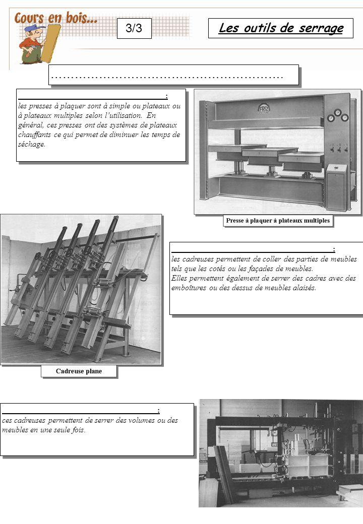 Les outils de serrage 3/3 ………………………………………………….