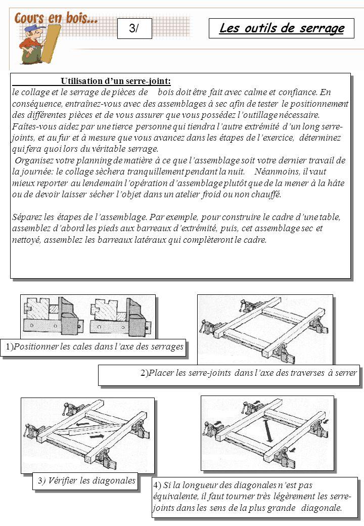 Les outils de serrage 3/ Utilisation d'un serre-joint: le collage et le serrage de pièces de bois doit être fait avec calme et confiance.