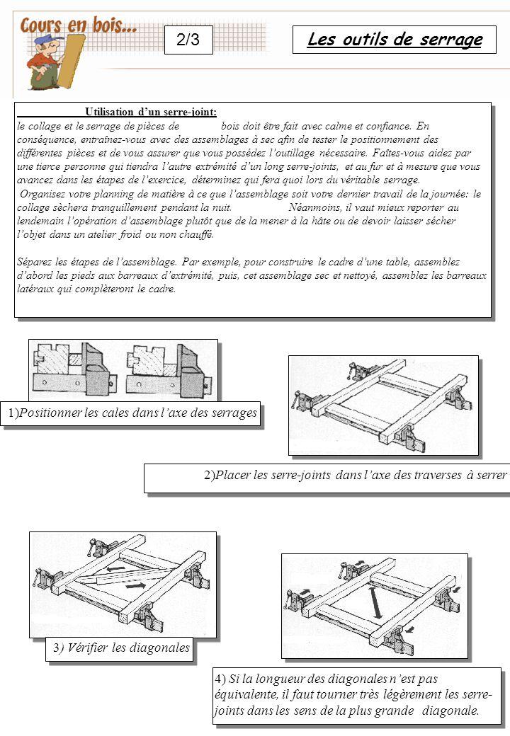 Les outils de serrage 2/3 Utilisation d'un serre-joint: le collage et le serrage de pièces de bois doit être fait avec calme et confiance.