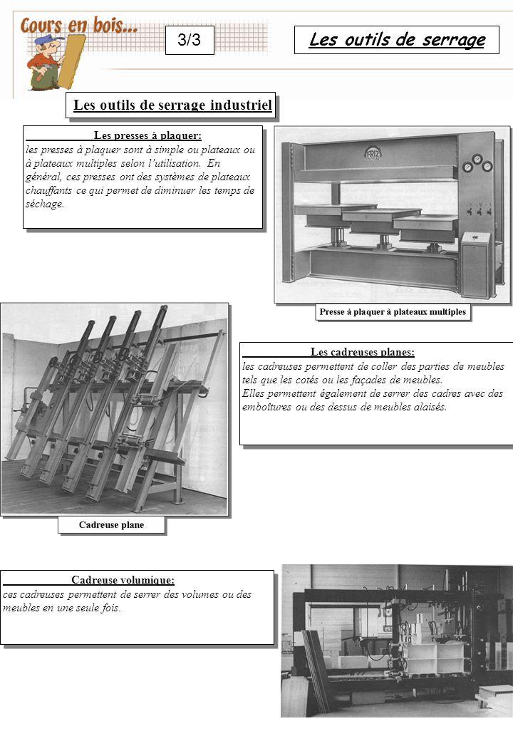 Les outils de serrage 1/3 S602 ……………………………………………: Tout atelier nécessite un assortiment de serre-joints ou de serre-joints tubulaires pour des collages d'envergure.