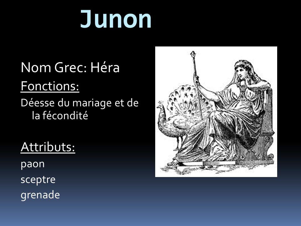 Junon Nom Grec: Héra Fonctions: Déesse du mariage et de la fécondité Attributs: paon sceptre grenade
